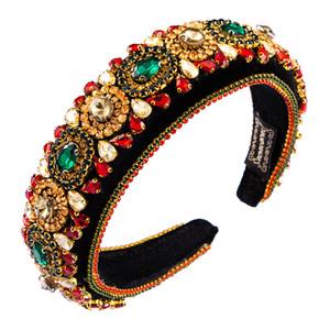 Colorido Rhinestone Flower com abas muito grandes Headband barroco Moda Luxo Heavy Industry Exquisite Retro Hairband casamento Hairdress Jóias