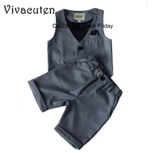 Summer Fashion Boys Clothing Set Kids Boy Solid Waistcoat + Shorts 2pcs Child Outfits Set Toddler Baby Wedding Party Costume