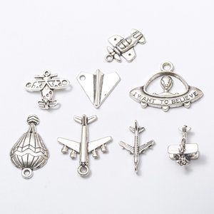 80pcs Mix Vintage tibetan silver airplane plane helicopter aircraft charms antique pendants for bracelet necklace earring diy jewelry making