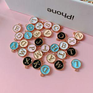 Vendita calda gioielli e accessori fai da te iniziali fascini della lettera di perle rotonde Alphabet Charm Ciondolo d'oro della lega per la fabbricazione dei monili del braccialetto della collana