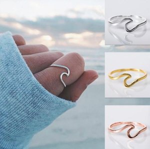 2020 New Wave Alloy Silver Rings Charms Rose Gold Ring Minimalist Jewelry Wedding Rings for Women Valentine's Day Gift Wholesale-Z z484