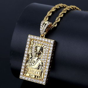 Statue of Liberty Pendant Gold-plated Zircon Hip-hop Men's Fashion Necklace Hip-hop Street Necklace Accessoriessk