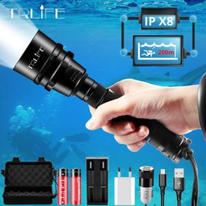 Brightest Professional Diving Flashlight XML T6 L2 Портативный подводное погружение факел 200M Подводный IPX8 Водонепроницаемый 18650 Фонари Y200727