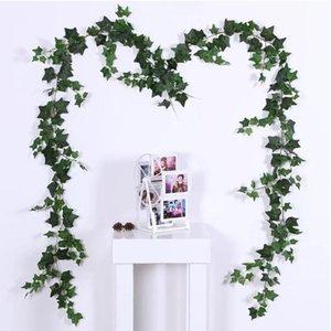 2pcs / lot festa di nozze favore verde appesa Ivy Rattan casa Aria condizionata tubo decorazione plastica Vite decorazione della parete artificiale Pla