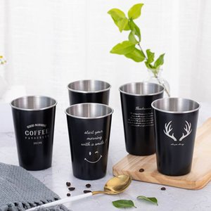 500ML Stainless Steel Coffee Mug Creative Letter Pattern Travel Camping Coffee Cups Milk Mug Drinkware Kitchen Tools