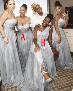 2021 Sexy Chiffon African Crystals Sweetheart Bridesmaid Dresses Beads Sleeveless Floor Length One Shoulder Plus Size Formal Dre