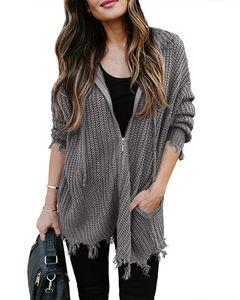 Frauen Loch Unregelmäßige Strickjacke Cardigan Quaste Langarm Solid Color Zipper Sweater Famale beiläufige mit Kapuze Strickjacke