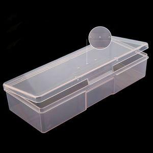 Nail Art Rectangle Rosa Durchlässiger Plastikaufbewahrungsbehälter Nagel Punktierung Zeichnung Bürsten-Feder-Polierschwamm Buffer-Behälter-Kasten