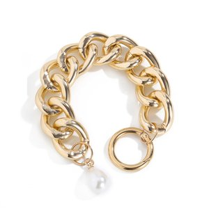 6pcs Lot European Retro Hollow Aluminum Bracelet Baroque Style Pearl Chain For Women Hip Hop White K Thick Bracelet Hand Jewelry Accessories