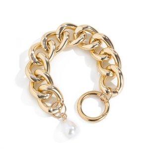 6pcs Lot European Retro Hollow Aluminum Bracelet Baroque Style Pearl Chain For Women Hip Hop White K Thick Bracelet Hand Jewelry Accessories