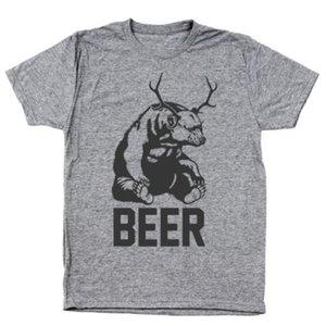 Drunk Beer Bear Deer Lustige Brunch Humor Heather Grey Männer Tri-Blend T-Shirt