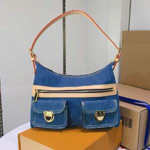 Высокая мода женщина сумки джинсовой плеча сумки Женские сумки подмышку Кошельки Сумки нашивки сумка Несколько Карманы