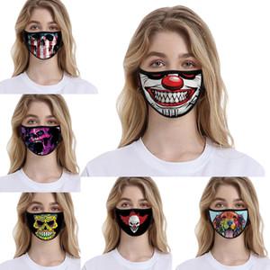 colore stampato maschere di cotone spazio di animazione 3D di personalizzazione Clown Skull Cartoon Party riutilizzabile Mask maschera antipolvere e lo smog di protezione