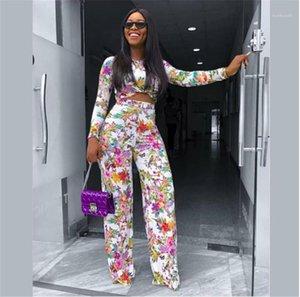 Parça Setler Seksi Kadın Giyim Mürettebat Boyun Tasarımcı Bayan İki Adet Pantolon Moda Çiçek Bayanlar Two yazdır