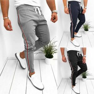 Hommes d'été Pantalons longs Casual Sport Gym Slim Fit Courir Joggers Stripe Pantalons Sweatpants 2020 Nouveaux