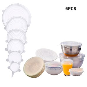 6-Pack Silicone Bowl Stretch Lids Food Fresh Sealing Cover