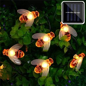 Solar Powered Cute Honey Bee Led String Fairy Light 50 Leds Bee Outdoor Garden Fence Patio Christmas Garland Lights