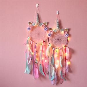 Mur Dreamcatcher Accueil Décoration Unicorn Dream Catcher Fille Chambre Accessoires Led main plume Tressé Wind Chimes