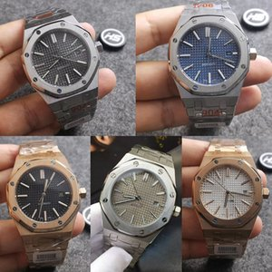 Audemars Piguet ap 6 Стиль Высокое качество Черный Sapphire Мужские часы 41мм автоматические движения Мода механические часы ROYAL OAK 15400 Наручные часы ZVxg #