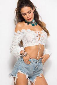Tshirts Seksi Hollow Out Mahsul En Moda Lacing Uzun Kollu Tişörtler Kadın Giyim Kadın Tasarımcısı Dantel Kasetli