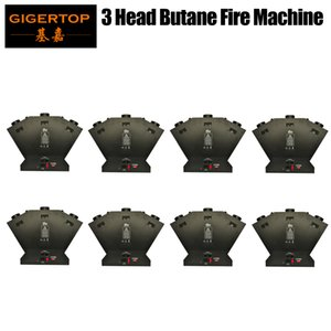 8pcs Factory Direct Sale Triple Flame Projector Stage Effect Spray Fire Machine 3 Head DJ Stage Bar Wedding Concert Fire Machine DMX 512