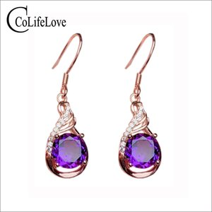 CoLife Jewelry 925 Silver Amethyst Eardrop for Party 7*7mm Natural Amethyst Drop Earrings Elegant Jewelry Gift For Lady