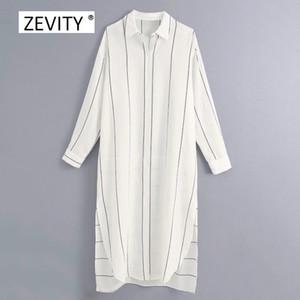 Zevity kadın moda çizgili baskı patchwork gündelik gömlek elbise ofis bayan uzun kollu yan bölünmüş vestido şık elbiseler DS4073