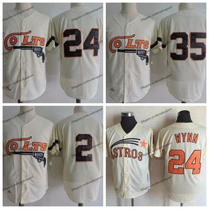 Vintage 1962 Houston Colt .45 35 Joe Morgan 2 Nellie Fox 24 Jimmy Wynn Creme Baseball Jerseys S-XXXL