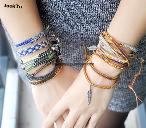 free shipping wholesale nuggets with threads leather bracelet for men and woman