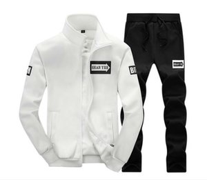 Spring Autumn men's full zip tracksuit men sport suit men sweatshirt and pant suit hoodie and pant set sweatsuit mens jacket 2PCS suit