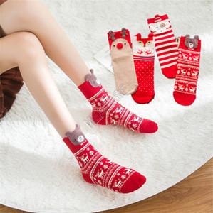 Chaussettes adultes Cartoon Ours de Noël Elk Concepteurs Longueur mi-mollet Sock Nouveau Femmes Filles d'hiver épaissie coton Bas Bonneterie Tube D92105