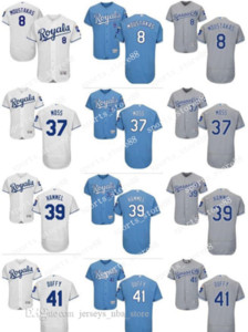 coutume hommes femmes jeunes KC Royals Jersey # 37 Brandon Moss 41 Danny Duffy 39 Jason Hammel 8 Mike # Moustakas Baseball Maillots