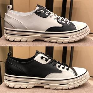 2020 zapatos de moda para hombre en blanco y negro empalmando la primera capa de piel de vaca y de piel de oveja, todo, ve con zapatos casuales