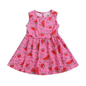 Clearance New Summer Dress Toddler Infant Baby Girls Sleeeless Plaid Watermelon Print Dresses Clothing 0116