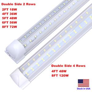 مزدوجة الجانب 4 صفوف 120 واط 8ft برودة الباب الفريزر الصمام الإضاءة 2ft 4ft 5ft 6ft led أنبوب ضوء الخامس الشكل المتكاملة LED أنابيب