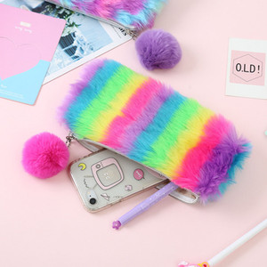 Cute Plush School Pencil Case Rainbow Pencilcase for Girls Large Big Pen Bag Stationery Pouch Box gift school Supplies