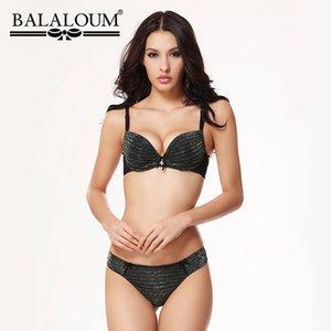 BALALOUM atractivo empuja hacia arriba el centelleo del Bowknot de las mujeres Bra y Panty Establece sujetador ropa interior femenina ropa interior de las fisuras T Volver Tangas