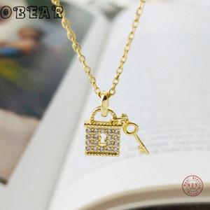 Obear nuevo 100% 925 plata esterlina Micro circón collar de bloqueo y clave colgante para la joyería regalo de las mujeres 6Tir #
