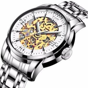 Reloj 2020WINNER automático para hombre relojes mecánicos de acero inoxidable Banda esquelética manecillas de la esfera de luz de primeras marcas