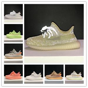 Crianças Meninos meninas Kanye 3M reflexiva Running Shoes Oeste Yecheil estática brilho verde argila da criança Crianças Formadores Sneakers
