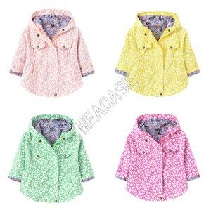Осень Зима Дети Hooded Coat Цветочные Daisy печати с капюшоном вскользь куртки Мальчики с длинными рукавами молния пальто Outwear ткань D82006