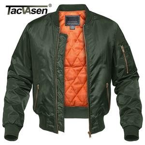 TACVASEN Зимнего китель Outwear Мужчины Хлопок Padded полет MA-1 Бомбардировщик пальто куртки вскользь бейсбол куртка Varsity куртка T200301