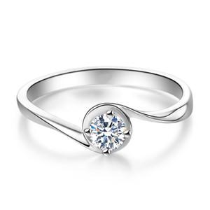 18K Au750 الذهب الأبيض خاتم المرأة زواجهما حزب خاتم الخطوبة جولة المويسانتي الماس عصري أنيق رومانسية