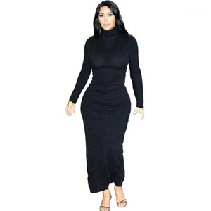 Black High Neck Long Sleeve Skinny Long Dresses Street Style Women Dress Kim Kardashian Womens Bodycon Dresses Fashion