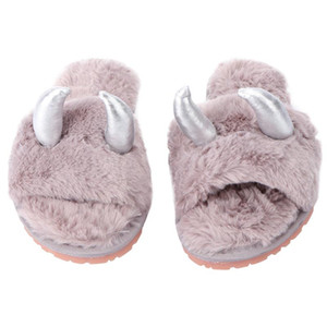 1Pair Christmas Antlers Design Slippers Adorable Plush Winter Slippers For Girls Christmas Gifts