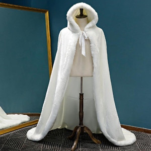 Warm Faux Fur Trim Winter Bridal Capes Stunning Wedding Cloaks 2021 Hooded Long Party Wraps Jacket White Fur Shawl Coat Plus Size AL6906