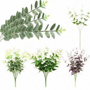 Ramos New Clematis eucalipto sae da planta de plástico verde Vinha Folhagem casamento Início Elegent Decor Jardim Bela Decoração HbzG #