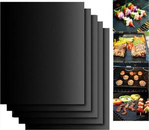 Antiadhésif BBQ Grill Mat Teflon grillade de pique-nique Noir rôti feuille réutilisable Non bâton BBQ Grill Mat Résistance à la chaleur Cuisine outil AHE772