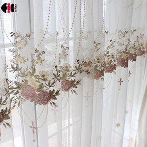 Luxury European Blue Lace Sheer Curtains for Bedroom Romantic Countryside Sheer French Window Screen Voile Drapes M063C Y200421