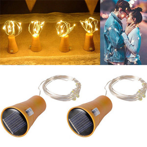 10 LED Solar Wine Bottle Stopper 1M 10LED Cork Shaped Bottle Stopper Light Glass Wine LED Copper Wire String Lights AAB1105